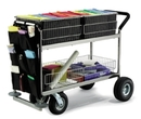 Charnstrom M284 Long Basket Mail Cart with Front Canvas Caddy, Rubber Bumpers and Cushion Grip Handle
