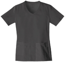 Cherokee 1909 V-Neck Knit Panel Top, 65% Polyester, /POLIESTER-35% Cotton/Algodon, Flexibles (Tonal)