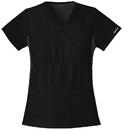 Cherokee 2500 Mock Wrap Knit Panel Top, 65% Polyester, /POLIESTER-35% Cotton/Algodon, Flexibles (Contrast Black)