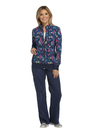 Cherokee CK308 Zip Front Warm-Up Jacket, 93% Poly 7% Spandex, Warm Up Jacket, Navy Blooms