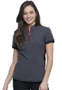 Cherokee CK805A Cherokee Infinity Zip-up Mock Neck Top,95% Polyester / 5% Spandex Heathered Poplin
