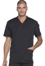Dickies Medical DK640 Men's V-Neck Top 91% Polyester 9% Spandex Textured Dobby