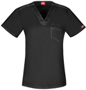 Dickies Medical DK801 Unisex V-Neck Top, 52% Cotton 45% Poly 3% Spandex, Top, Gen Flex Unisex (Contrast)