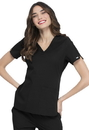 Elle Simply Polished Faux Twist V-Neck Top,92% Polyester / 8% Spandex Tonal Texture