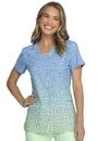 Heartsoul HS638 HeartSoul Prints V-Neck Top,95% Polyester / 5% Spandex Fine Dobby