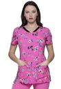 Heartsoul HS721 HeartSoul Prints V-Neck Top,95% Polyester / 5% Spandex Fine Dobby