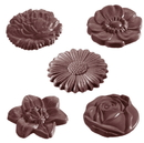 Chocolate World CW1416 Chocolate mould flowercaraque round 5 fig.