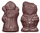 Chocolate World CW1616 Chocolate mould caraque St Nicholas & Black peter 2 fig.