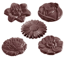 Chocolate World CW2140 Chocolate mould flowercaraque round 5 fig.