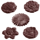 Chocolate World CW2224 Chocolate mould flowercaraque round 5 fig.