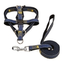 Denim Dog Harness & Leash Kit, Adjustable Durable Nylon Leash Set for Small Medium Large Dog, Perfect for Training Jogging Walking