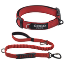 GOGO Dog Cat Collar and Leash Set, Night Reflective Adjustable Nylon Pet Collar and 2 in 1 Dog Leash with Car Seat Belt Harness Buckle Elastic Nylon Bungee Buffer for Medium Large Dogs