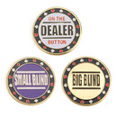 GOGO Set of 3 Metal Chip Poker Buttons - Small Blind, Big Blind and Dealer