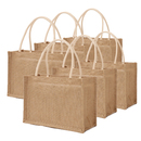 TOPTIE 6 PCS Jute Tote Bags with White Handles, Reusable Grocery Bags, Burlap Gift Bags Blank for DIY