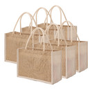 TOPTIE 6 PCS Jute Reusable Tote Bags with Canvas Side, Natural Burlap Gift Bags with Cotton Handle