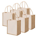 TOPTIE 6 PCS Canvas Jute Tote with Cotton Handles, Sustainable Grocery Shopping Bags