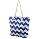 TOPTIE Beach Tote Handbag - Wavy Striped Canvas Bag with Cotton Rope Handles, for Traveling, Vacation, Shopping