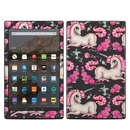 DecalGirl AKHD17-UNIROSECHAR Amazon Kindle Fire HD10 2017 Skin - Unicorns and Roses (Skin Only)