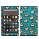 DecalGirl AKHD19-DOGROSE Amazon Kindle Fire HD10 2019 Skin - Bulldogs and Roses (Skin Only)
