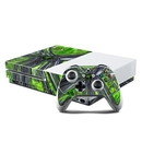 DecalGirl XBOS-ABST-GRN Microsoft Xbox One S Console and Controller Kit Skin - Emerald Abstract (Skin Only)