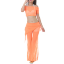 BellyLady Exotic Belly Dancing Costumes Set, Sheer Crop Top And Tribal Pants