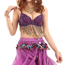 BellyLady Belly Dance Coins And Fringe Bra Top, Beaded Flower Shape