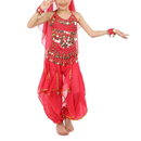 TopTie Kid's Belly Dance Costume Set, Halter Top, Harem Pants, Hip Scarf