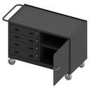 Durham 3401NVS-5PU-95 Mobile Bench Cabinet with 5