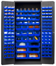 Durham 3500-138B-5295 Heavy Duty Cabinet, 138 blue Hook-On-Bins, 3-point locking system with keyed handle and lock rods, flush door style, gray