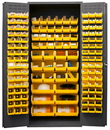 Durham 3500-138B-95 Heavy Duty Cabinet, 138 yellow Hook-On-Bins, 3-point locking system with keyed handle and lock rods, flush door style, gray