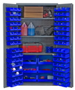 Durham 3501-BDLP-102-3S-5295 Heavy Duty Cabinet, lockable, 3 adjustable shelves, 102 blue Hook-On-Bins, flush door style, gray