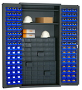 Durham 3501-DLP-60DR11-96-2S5295 36 Wide Small Parts Storage & Security Cabinet, lockable with 2 adjustable shelves, 60 Jumbo drawers and 96 blue Hook-On Bins, flush door style, gray