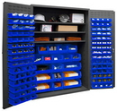 Durham 3502-138-3S-5295 Heavy Duty Cabinet, lockable with 3 adjustable shelves, 138 blue Hook-On-Bins, flush door style, gray