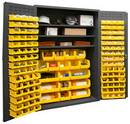 Durham 3502-138-3S-95 Heavy Duty Cabinet, lockable with 3 adjustable shelves, 138 yellow Hook-On-Bins, flush door style, gray