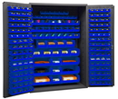 Durham 3502-186-5295 Heavy Duty Cabinet, 14 gauge steel, lockable cabinet, with 186 blue Hook-On-Bins, flush door style, gray