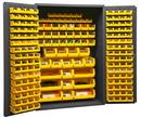 Durham 3502-186-95 Heavy Duty Cabinet, 14 gauge steel, lockable cabinet, with 186 yellow Hook-On-Bins, flush door style, gray