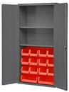 Durham 3602-BLP-14-2S-1795 Heavy Duty Cabinet, lockable, 2 adjustable shelves, 14 red Hook-On-Bins, flush door style, gray