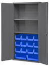 Durham 3602-BLP-14-2S-5295 Heavy Duty Cabinet, lockable, 2 adjustable shelves, 14 blue Hook-On-Bins, flush door style, gray