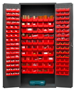 Durham 3603-156B-1795 Heavy Duty Cabinet, 156 red Hook-On-Bins, 3-point locking system with keyed handle and lock rods, flush door style, gray