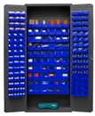Durham 3603-156B-5295 Heavy Duty Cabinet, 156 blue Hook-On-Bins, 3-point locking system with keyed handle and lock rods, flush door style, gray