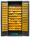 Durham 3603-156B-95 Heavy Duty Cabinet, 156 yellow Hook-On-Bins, 3-point locking system with keyed handle and lock rods, flush door style, gray