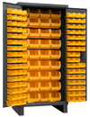 Durham 3702-132-95 Heavy Duty Cabinet, 132 yellow Hook-On-Bins, 3-point locking system with keyed handle and lock rods, flush door style, gray