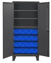 Durham 3702-16-3S-5295 Heavy Duty Cabinet, lockable, 3 adjustable shelves, 16 blue Hook-On-Bins, flush door style, gray