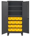Durham 3702-16-3S-95 Heavy Duty Cabinet, lockable, 3 adjustable shelves, 16 yellow Hook-On-Bins, flush door style, gray