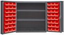 Durham DC-243636-48-2S-1795 Heavy Duty Cabinet, lockable, 1 fixed shelf and 2 adjustable shelves, 48 red Hook-On-Bins, deep door style, gray