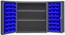Durham DC-243636-48-2S-5295 Heavy Duty Cabinet, lockable, 1 fixed shelf and 2 adjustable shelves, 48 blue Hook-On-Bins, deep door style, gray