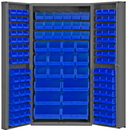 Durham DC-BDLP-132-5295 Heavy Duty Cabinet, 132 blue Hook-On-Bins, 3-point locking system with keyed handle and lock rods, deep door style, gray