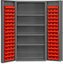 Durham DC-DLP-96-4S-1795 Heavy Duty Cabinet, lockable, 1 fixed shelf and 4 adjustable shelves, 96 red Hook-On-Bins, deep door style, gray