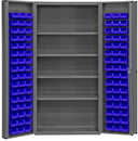Durham DC-DLP-96-4S-5295 Heavy Duty Cabinet, lockable, 1 fixed shelf and 4 adjustable shelves, 96 blue Hook-On-Bins, deep door style, gray