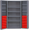 Durham DC36-48-4S6DS-1795 Heavy Duty Cabinet, lockable, 1 fixed shelf, 4 adjustable and 6 door shelves, 48 red Hook-On-Bins, deep door style, gray